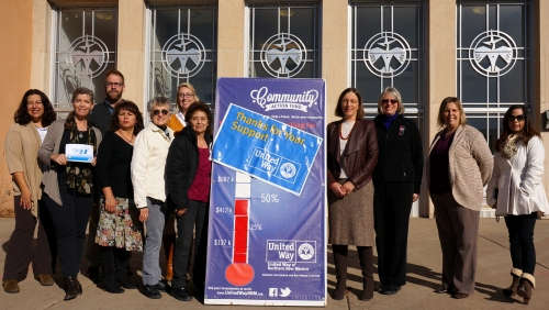 In the photo from left to right. Diane Martinez of YMCA, Ellen Morris-Bond of Self Help (2-1-1), Jeremy Smith of YMCA, Paula Gurule of La Clinica del Pueblo de Rio Arriba, Suzan Royal of San Martin de Porres, Kristy Ortega of United Way of NNM, Mona Romero of San Martin de Porres, Susan Mack of Family Strengths Network, Maria Wolfe of National Dance Institute of New Mexico, Carrie Fanning of Family Strengths Network, Stephanie Fresquez of Amigos de Valle.